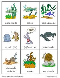 printable spanish freebie of the day prepositions of place cards