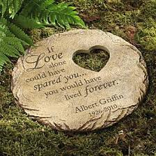 memorial heart cut out stepping stone stone family garden and death