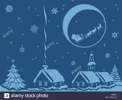 village in calm christmas night with santa claus and reindeer on