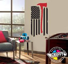 Living Room Decor Etsy Thin Red Line Firefighter Axe Flag Wall Decal Display