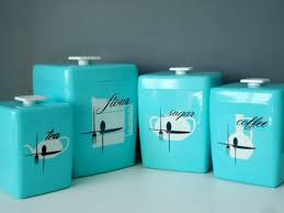 vintage canisters for kitchen retro nesting kitchen canister set 1960s turquoise canisters