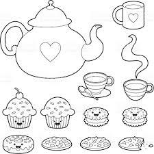 tea time kawaii coloring set stock vector art 165676562 istock