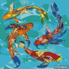 mosaic design of swimming butterfly koi fish koifish