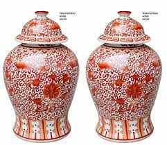 Ginger Home Decor by Pair 2 Large Antique Style Coral Chinese Temple Jar Vase Ginger