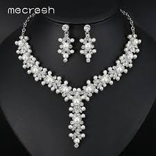 silver bridal necklace set images Buy mecresh luxury simulated pearl bridal jewelry jpg