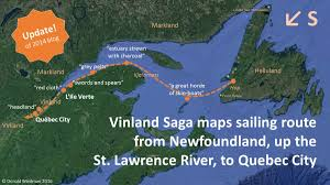 Quebec Map Vinland Saga Maps The Sailing Route From Newfoundland Up The St