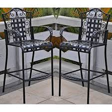 Bar Height Patio Furniture by Amazon Com Set Of 2 Mandalay Iron Bar Height Chair Patio