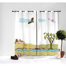 stickers savane chambre bébé paire de rideaux savane