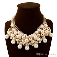 big pearl necklace wedding images Multilayer big imitation pearl necklace women chunky luxury bubble jpg