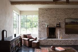 Modern Farmhouse Ranch Dark Concrete Floor Living Room Farmhouse With Modern Farmhouse