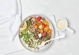 quinoa and black eyed pea salad recipe with tahini lemon dressing