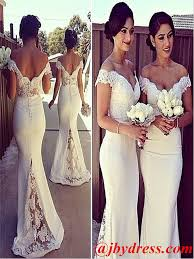 white lace prom dress custom made white mermaid shoulder lace prom dresses lace