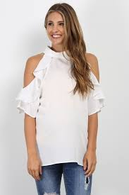 high neck ruffle blouse white high neck ruffle cold shoulder maternity top