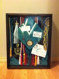 graduation shadow box with cords cap invitations program