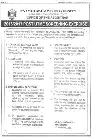 Job Description On Resume Unizik Nnamdi Azikiwe University 2016 Admission Screening Form