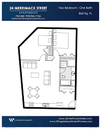 Two Bedroom Floor Plans One Bath Floor Plans One U0026 Two Bedrooms 24 Merrimack Street