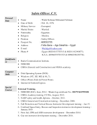 Offshore Resume Samples by Walid Soliman Safety Officer Cv