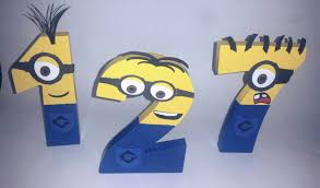 wooden minion numbers minion personalize minion party