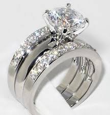 bridal ring sets rhodium plated solitaire with accents engagement wedding ring