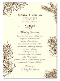 fall wedding programs unique wedding programs on seeded paper aspen in the fall by