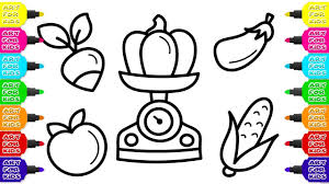 children u0027s coloring book scales for vegetables and fruits how to
