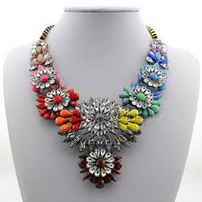 statement necklace with flower images 2014 women gift chain chunky shourouk necklace choker statement jpg
