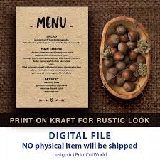 rustic menu printable 5x7 wedding menu template instant downolad