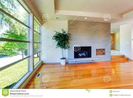 empty house interior glass wall living room with brick wall an