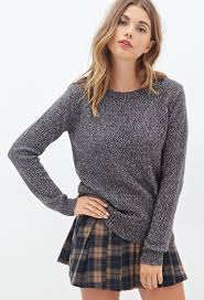 forever 21 metallic knit sweater in gray lyst