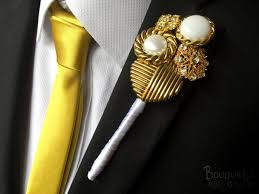 gold boutonniere gold buttonhole wedding buttonhole boutonniere mens wedding