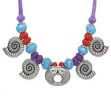 handmade necklace designs images The indian handicraft store sea shells purple thread necklace jpg