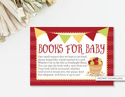 Baby Shower Book Instead Of Card Poem Bring A Book Insert Card Apple Baby Shower Apple Book Card