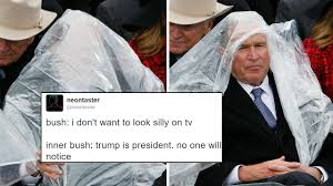 george w bush stole trump s inauguration with his poncho and