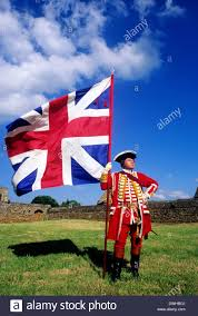historical re enactment british soldier 1745 union flag as