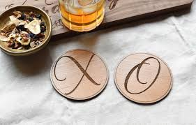 wooden drink coaster xo round wooden drink coasters set set of 2 or 4 u2013 indigo ember