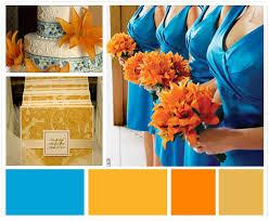 Blue Orange Color Scheme This Is A Bright Fun Wedding Color Palette Featuring Pool Blue