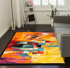 Stain Resistant Rugs Champlain Multi Cubes Yellow Orange Blue Modern Abstract Painting