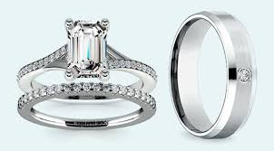 wedding set emerald cut diamond wedding sets