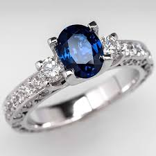 oval sapphire engagement rings oval cut sapphire engagement ring w diamonds 18k white gold