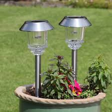 solar stainless steel stake lights high power leds 2 pack