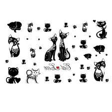 yeeech temporary tattoos sticker for women fake black kitty design