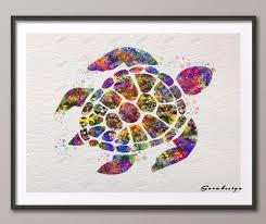 Sea Turtle Home Decor Aliexpress Com Buy Diy Original Watercolor Sea Turtle Canvas