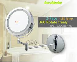 Extendable Magnifying Bathroom Mirror 7 Inch Dual Arm Extend Bathroom Mirror With Battery Led Light 2