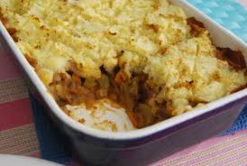 A Root Vegetable - mushroom and lentil cottage pie with a root vegetable topping