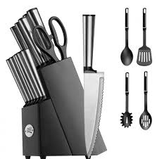 home depot knives set review black friday koden series 18 piece stainless cutlery set w black block