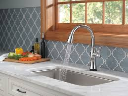 touch technology kitchen faucet delta cassidy pull touch single handle kitchen faucet with