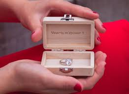 Porte Alliance Bois Wedding Rings Wooden Box Engraved Quote Phrase Wedding Box