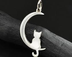 cat on moon charm etsy