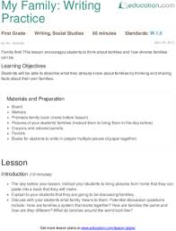 my family writing practice lesson plan education