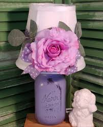 Shabby Chic Purple by Romantic Purple Mason Jar Lamp With Rose Shade